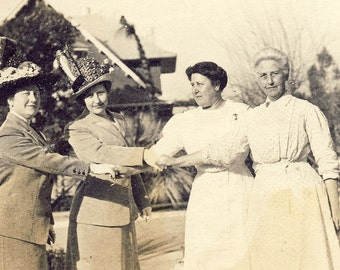 Well Dressed Women with FEATHER Hats HOLDING HANDS With Servants Photo Postcard Circa 1910s