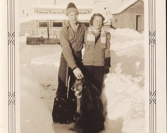 Couple On Winter Day with Their BEST FRIEND DOG Photo Circa 1930