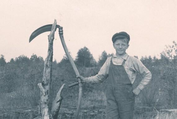 Young Boy with Sickle RPPC Photo circa 1910