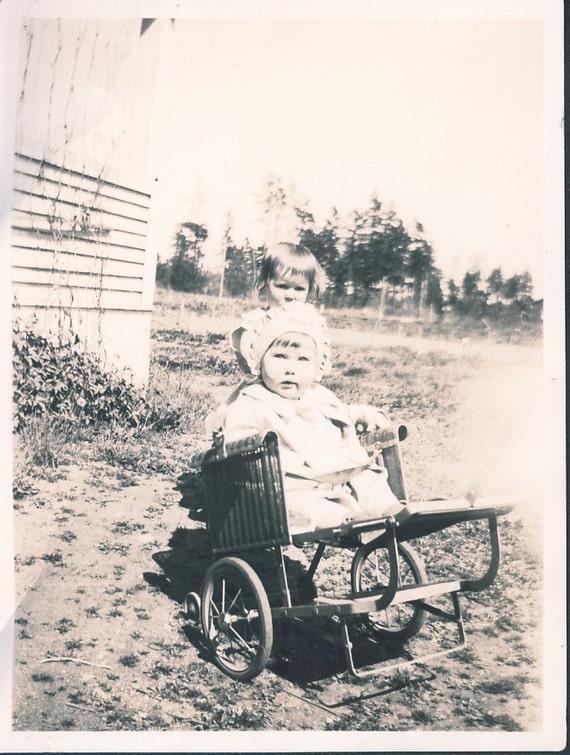 Little Girl in OLD WHEELCHAIR Kellogg Idaho Photo 1932