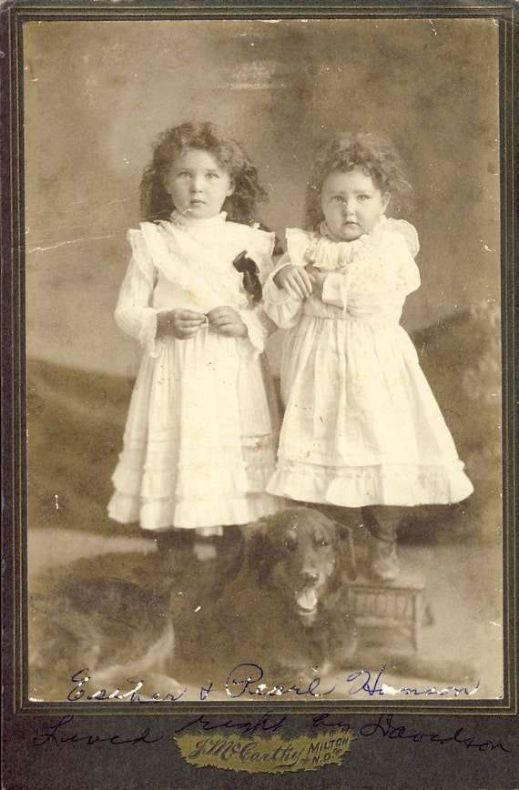 TWIN Curly Haired SISTERS and Family DOG Esther and Pearl Hanson Cabinet Photo Milton North DakotaCirca 1890s