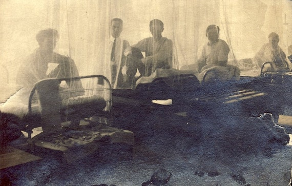 SILHOETTES of Men In HOSPITAL Beds Behind Gauze Curtains in Ethereal Photo Circa 1905