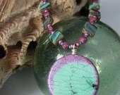 Soft and Spunky Purple Turquoise Pendant Necklace