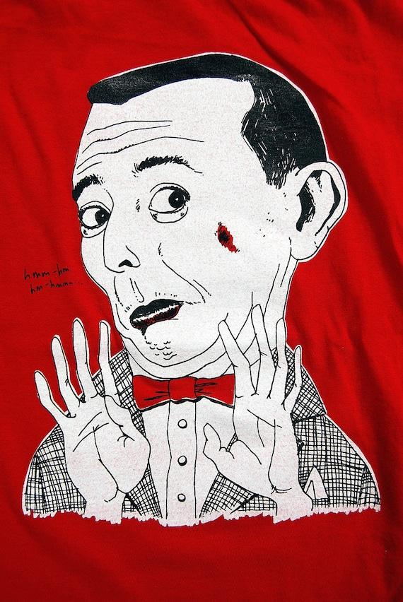 FallSALE!  Pee-Wee herman screen printed on American Apparel t-shirt in red- Men's