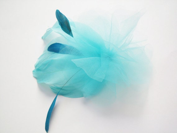 Aqua Feather Fascinator -Turquoise Feather Comb - Bridal Feather Comb