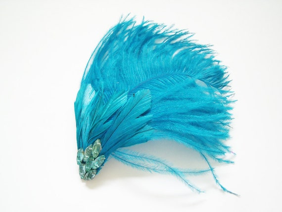 Turquoise Feather Fascinator With Vintage Crystals