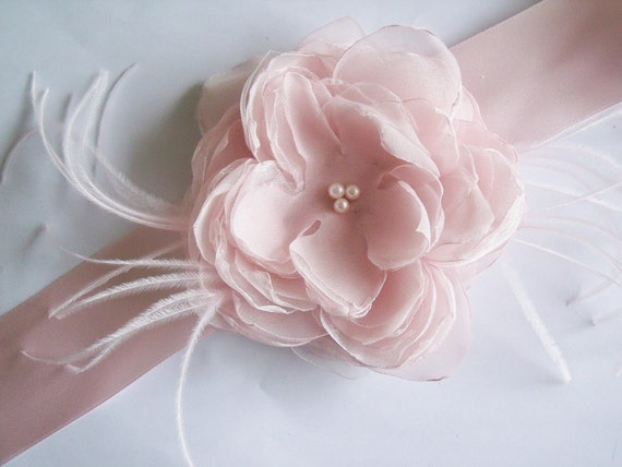 Blush Satin Flower Sash - Bridal Sash - Bridal Belt - Blush Bridal Sash