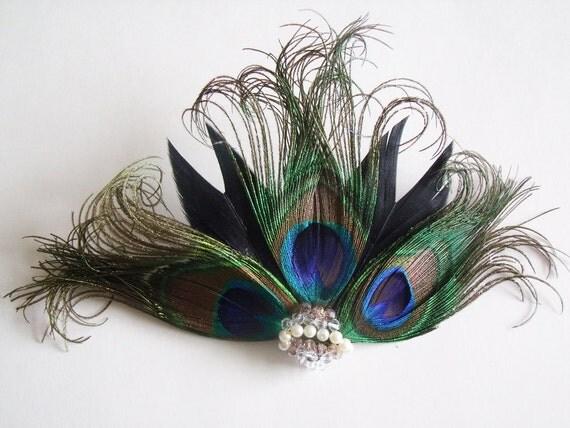 CUSTOM - RUSH - Peacock Feather Fascinator - Bridal Feather Fascinator - Peacock Headpiece