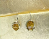 Golden Citrine Crystal Earrings