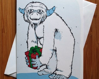 Christmas Yeti Greeting Card - Blank Inside