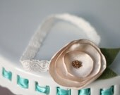 Posey Headband - Champagne Satin Flower with Felt Leaves and Glass Bead Center