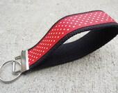 Red & black polka dot key fob FREE SHIPPING