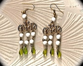 Vintage earrings chandelier style  Green glass, white vintage beads , silver plated earwires