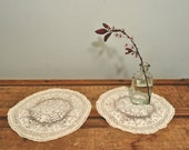 Pair of Vintage Round Lace Doilies Doily