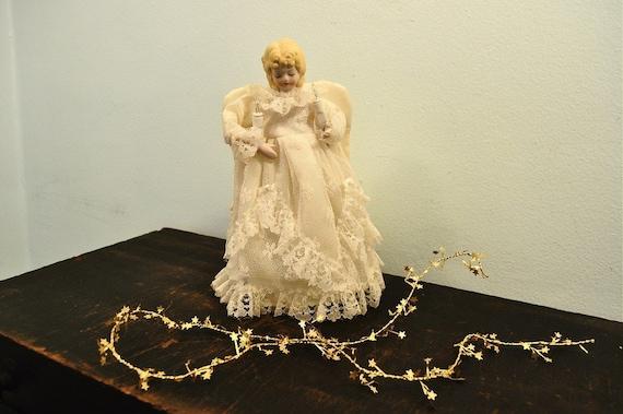 Vintage Porcelain Angel Christmas Tree Topper Christmas Lights