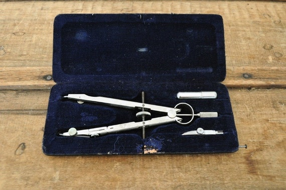 Vintage German Drafting Compass and Case made by Tower