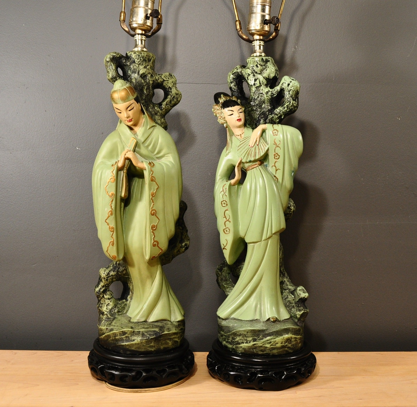Whoa Age Swap On A Few Of Them There That Would Be: Pair Of Vintage Asian Chalkware Lamps