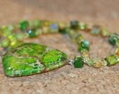 Green Ocean Jasper (sea Variscite) necklace and earrings