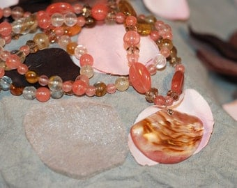 Fire Cherry Quartz Necklace and Earrings