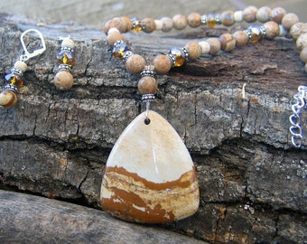 Picture Jasper and Swarovski necklace and earrings Dusty Road
