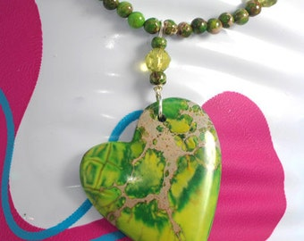 Green Variscite  and ceramic necklace and earrings