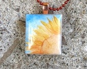 Scrabble Tile Sunflower Watercolor Pendant - Necklace features Original Fine Art