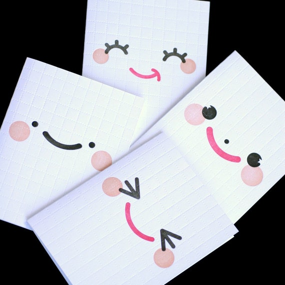 Cheeky Cheery Faces Letterpress Cards - Collector's Boxed Set of 4 Designs