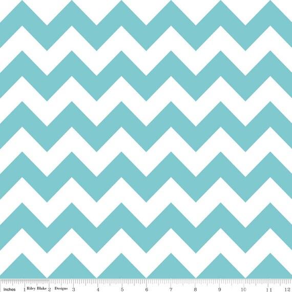 Custom Listing for H. -- Riley Blake Chevron fabric in Aqua & Navy, 4 yards each, 2 yards of black