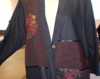 SALE!!!  New Handmade Vintage Fabrics on Black Silk Jacket