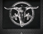 Radiant Cow Skull - Black Canvas Patch