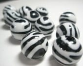 Black & White Animal Print ACRYLIC Beads -ZEBRA (16 mm) - Basketball Wives Inspired - 10 pieces