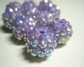 14mm - Basketball Wives Inspired - 10 Rhinestone Resin Balls - ORCHID PURPLE