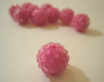 16mm - CLEARANCE SALE -32 PIECES Rhinestone Resin Balls - Pink
