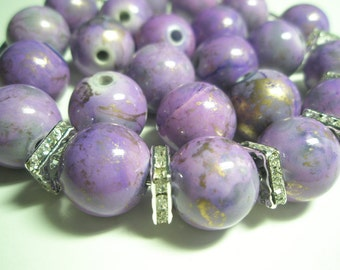 CLEARANCE SALE 16 mm - Basketball Wives Inspired PURPLE Splash Spacers/Beads - 12 pieces