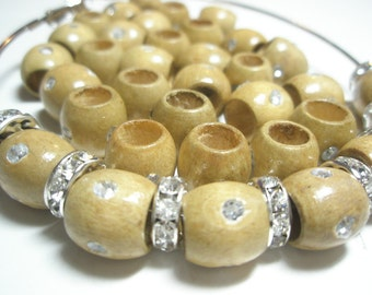 Rhinestone WOOD Beads - (12 mm) - Basketball Wives Inspired - 20 pieces