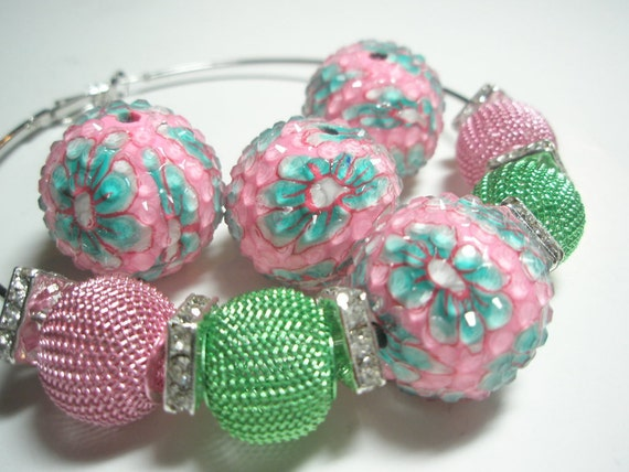 22 mm  - Basketball Wives Earrings Inspired  - Rhinestone Resin Beads - Pink w/ Green Flower  - 4 pieces