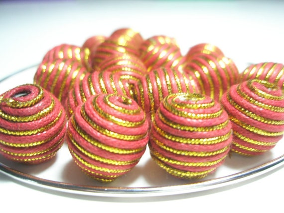 ORANGE/GOLD Basketball Wives Inspired Woven beads (14 mm) - 10 pieces