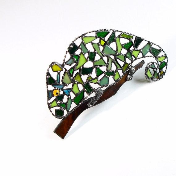 Stained Glass Chameleon Suncatcher,  Mosaic Chameleon