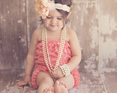 Coral Lace Petti Romper  Sizes  baby and toddler pettiskirt / bubble romper- RESERVED LISTING