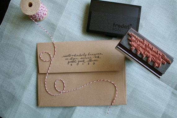 custom fully handlettered address stamp (rubber)