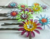 Vintage Enameled Flower Bobby Pin - Choose Your Color