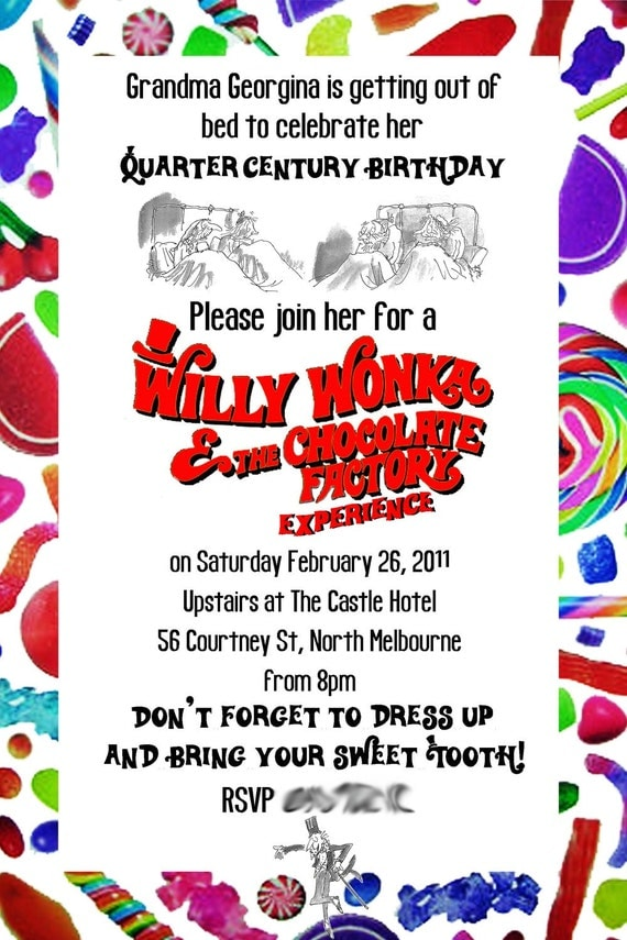 Custom Invitations for a Willy Wonka Party Print Your Own