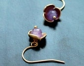 Amethyst blossom - everyday gemstone jewelry - tiny romance - tiny purple blossom with golden petals - amethyst beads and gold plated caps