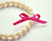I Believe in Pink - Bracelet Pink Ribbon with White Rose Carved Beads - delicate and pretty, romantic, very chic