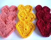 Crochet Hearts Embellishment Appliques Yellow Salmon Bordeaux colors(9 Pcs.)