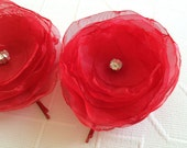 Red Organza Bridal  With Rhinestone Button Hair Clip - Wedding Accessory