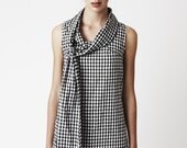 Gingham Bow Dress - Playful 100% cotton black and white checkered dress - threelittleducksaust