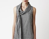 Gingham Bow Dress - Playful 100% cotton black and white checkered dress