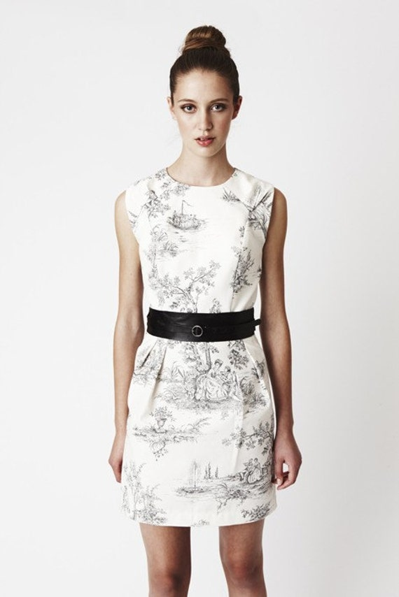 Custom listing for Julie - black and white toile Ivy Dress