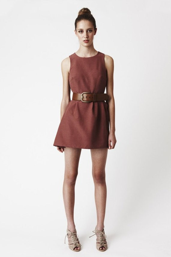 Side Gathers Dress - Dusty Pink / Rose / Rust Round Neck Above-Knee Pleated